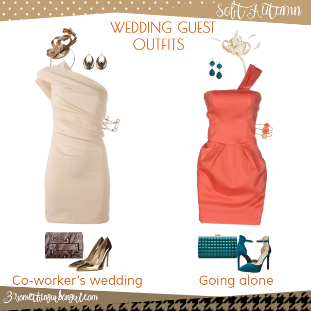Wedding guest outfit ideas for Soft Autum women by 30somethingurbangirl.com // Are you invited to a your co-worker's wedding or maybe going solo to a nuptials? Find pretty outfit ideas and look glamorous!