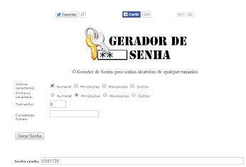 GERADOR DE SENHAS ONLINE