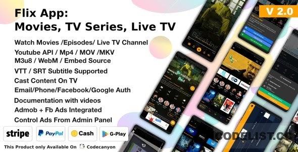 Flix App Movies v2.2 - TV Series - Live TV Channels - TV Cast