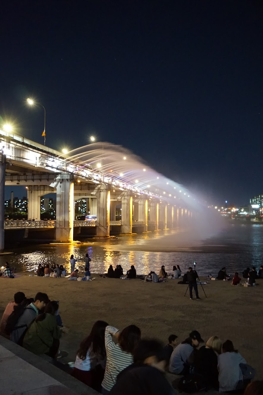 Seoul banpo bridge light show South Korea travel trip solo female floating island