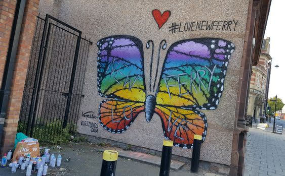 The butterfly wall mural in New Ferry