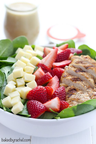 Strawberry Spinach Salad with Grilled Chicken | Photo Courtesy of Baked by Rachel