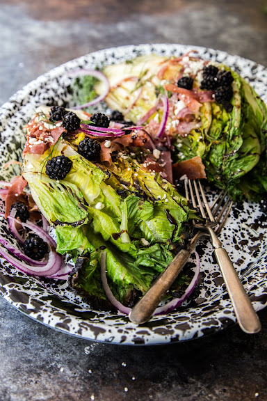 Grilled Romaine with Blackberries and Crispy Prosciutto | Photo Courtesy of Country Cleaver