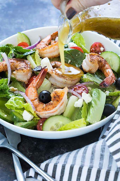 Greek Salad with Blackened Shrimp | Photo Courtesy of The Blond Cook