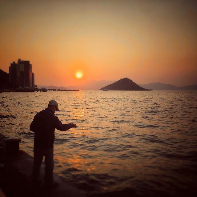 Fishing, hong kong, harbor, Sunset,  日落, 釣魚