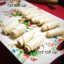 Chinese, recipe, how to wrap,  Spiral, Flaky Pastry, dough, Mooncake, 紫蕃薯酥, 淮揚圓酥, 月餅,千層紫薯酥酥