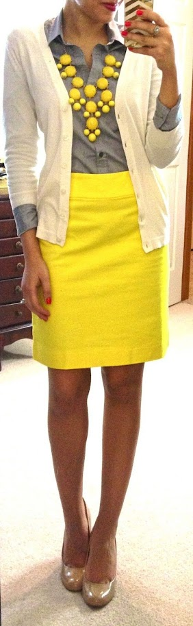 Chic outfit with white cardigan, gray blouse, yellow necklace and skirt for Clear Winter women