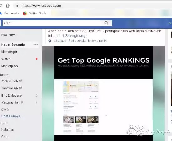 get top google ranking in facebook