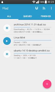 Flud Torrent Downloader; client Bit Torrent per scaricare, condividere file direttamente su Android.