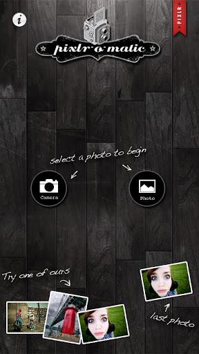 Pixlr-o-matic menu screen