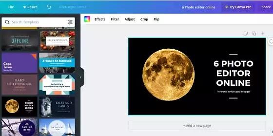 Canva Photo Online Editor Gratis Cocok Untuk Blogger