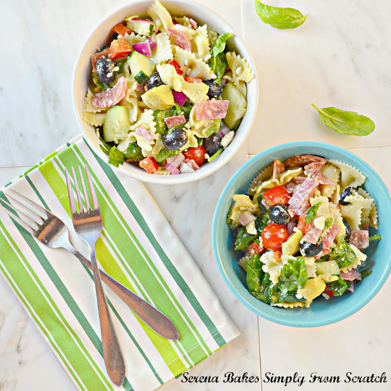 Italian Antipasto Pasta Salad with Basil Vinaigrette | Serena Bakes Simply From Scratch