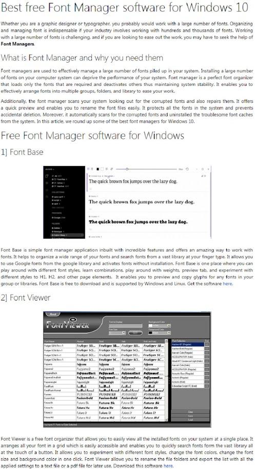 Windows | Font Manager