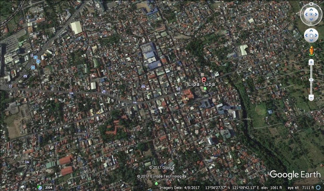 Satellite photo of Lipa City as seen on Google Earth.